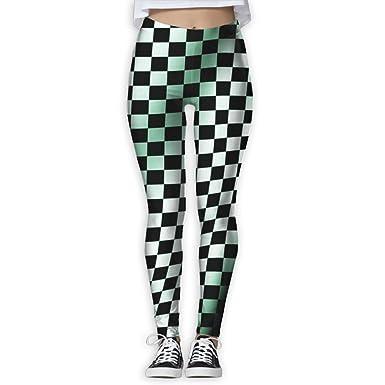 f526e60ccb535 Amazon.com  Womens Ultra Soft Waving Checkered Flag Car Racing Workout  Athletic Tights  Clothing