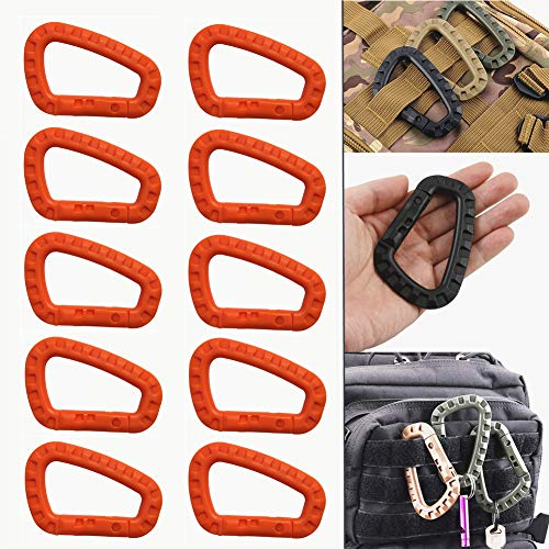 Tactical 10pcs Enforcement Polymer Light Weight D-Ring Locking Hanging Hook Tactical Link Snap Keychain (10Pcs Orange)