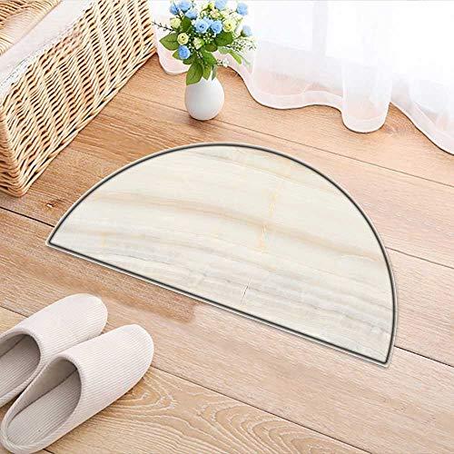 Simple Modern Semi-Circular Non-Slip Carpet Onyx Marble Bedroom Bathroom Rug W35 x H24 INCH - Masonic Black Onyx