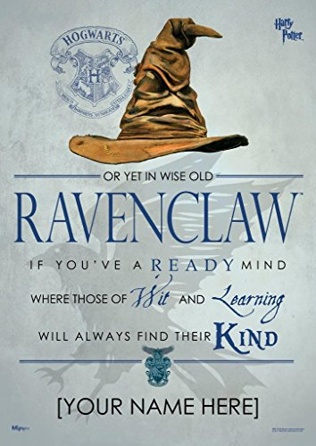 MightyPrint Harry Potter Sorting Hat - Ravenclaw House - Personalized with Your Name Wall Art Next Generation Premium Print