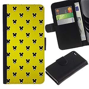 LASTONE PHONE CASE / Lujo Billetera de Cuero Caso del tirón Titular de la tarjeta Flip Carcasa Funda para Apple Iphone 4 / 4S / Mouse Black Big Ears Woman Wallpaper Pin Up
