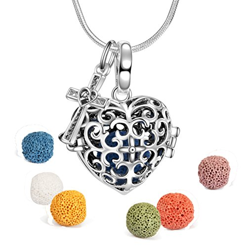 Heart Aromatherapy Essential Oil Diffuser Perfume Necklace Locket Pendant and 6 Colours Lava Stone Beads with Adjustable Snake Chain-with Cross Pendant ()