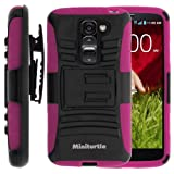 MINITURTLE, High Impact Rugged Hybrid Dual Layer Protective Phone Armor Case Cover with Built in Kickstand and Swivelling Holster Belt Clip for Android Smartphone LG G2 Mini D620, LS885 (Black / Pink)