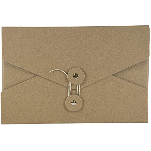 JAM PAPER Kraft Portfolio with Button and String Tie Closure - Video Size - 5 1/2 x 8 1/2 x 1 - Natural Recycled - Sold Individually