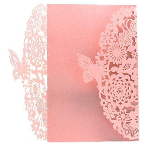 TOOGOO(R) 10Pcs/Set Delicate Carved Butterflies Romantic Wedding Party Invitation Card Envelope Invitations for Wedding£ºPink