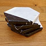 Black and White Marble Stone Coasters for Drinks Home Office Decor Birthday Gifts for Men - Set of 4