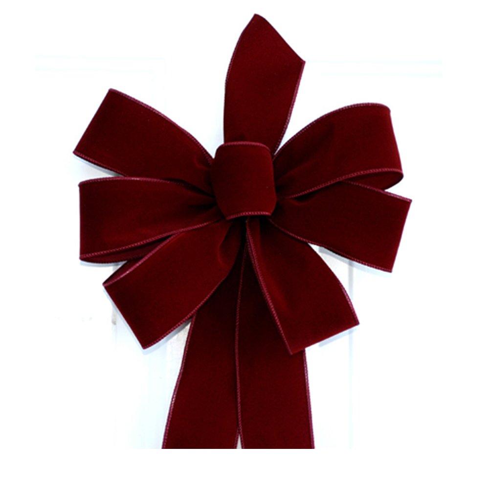 Wired Burgundy Handmade Velvet Christmas Bow - Approximately 12'' - Case of 12 Bows