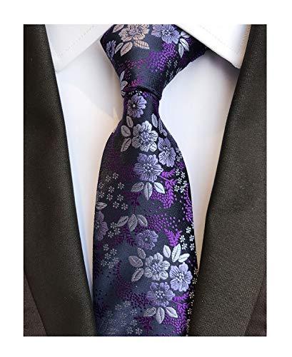 Men's Classic Violet Dark Purple Silk Ties Jacquard Woven Dress Business -