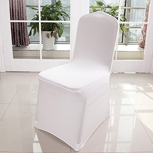 universal 100pcs Chair Covers Spandex/Lycra Metal & Plastic Folding Decoration For Wedding, Banquet, Party (White)