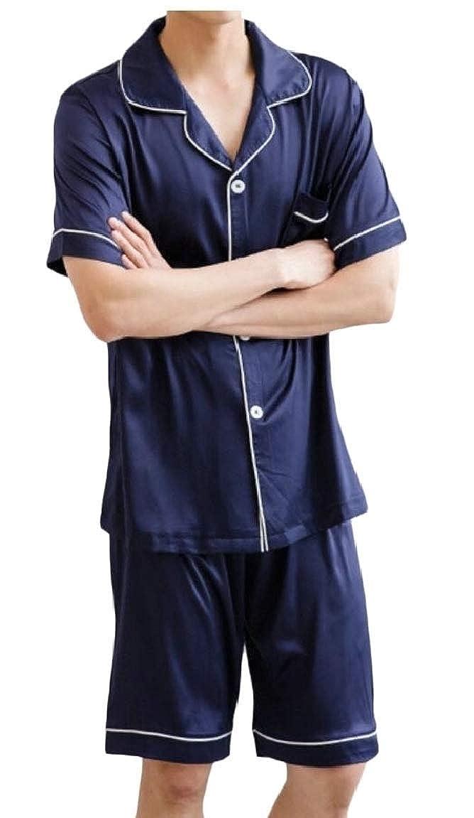 Alion Mens Luxury Silk Nightwear Pajama Set Short Sleeve Loungewear Top Short Pants