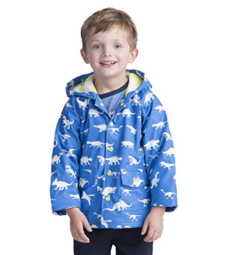 Hatley Little Boys' Printed Raincoats, Color Changing Dinosaur Menagerie, 3 (Jumpers Shoes Kids Puddle)