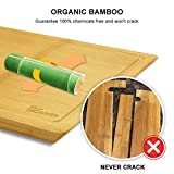 1Easylife Organic Bamboo Cutting Board - Extra Large Size 18x12 Thick with Drip Groove, Guarantee Never Crack