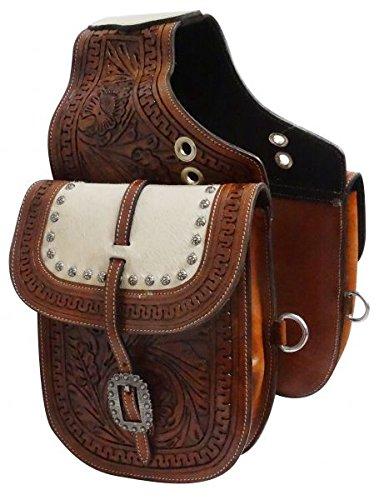 (Showman Medium Oil Tooled Leather Saddle Bag w/Genuine Cowhide Overlay! NEW HORSE TACK!)