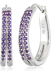 Sterling Silver Gemstone Double Row Hoop Earrings