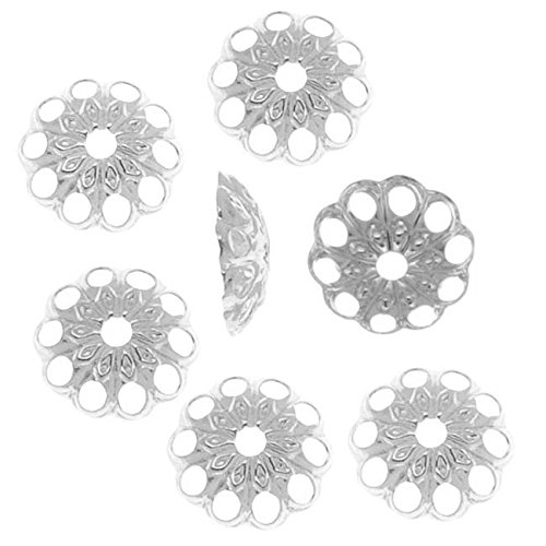 Silver Plated Openwork Daisy Bead Caps - 6mm - Bead Caps Daisy