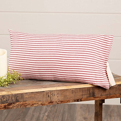 Piper Classics Farmhouse Ticking Stripe Red Fabric Pillow Cover, 12