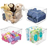 mDesign Plastic Home Storage Organizer Bin for Cube Furniture Shelving in Office, Entryway, Closet, Cabinet, Bedroom, Laundry Room, Nursery, Kids Toy Room - 10' x 10' x 8' - 4 Pack - Clear
