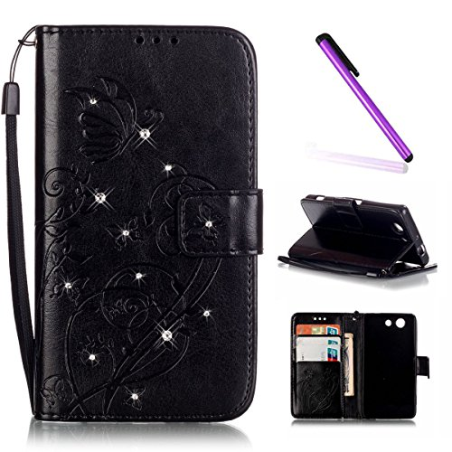 Sony Xperia Z3 Compact Hülle,Sony Xperia Z3 Compact Flip Tasche Grau PU Leder Wallet Brieftasche Schutzhülle für Sony Xperia Z3 Mini,Sony Xperia Z3 Mini Hülle Leder,Sony Xperia Z3 Compact Hülle Leder, Butterfly 8