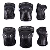 Selighting Protective Gear Set for Adults Teens Kids - Knee Pads / Elbow Pads / Wrist Guards for Skateboarding Biking Riding Cycling Scooter Rollerblading Roller Skating - 6 pcs Street Sports Protective Pads (Black, S)