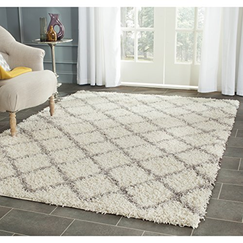 Safavieh Dallas Shag Collection SGD258F Ivory and Grey Area Rug, 8 feet by 10 feet (8' x 10')