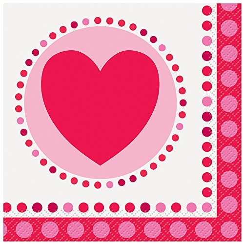 Radiant Hearts Valentine's Day Beverage Napkins, 16ct (V Day Valentine)