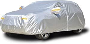 Kayme Car Covers for Automobiles Waterproof All Weather Sun Uv Rain Protection with Zipper Mirror Pocket Fit Hatchback (174 to 187 Inch) 2XL
