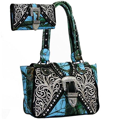 Western Concealed Embroidered Camo Buckle Handbag Purse Wallet Set -Blue/Cam ()