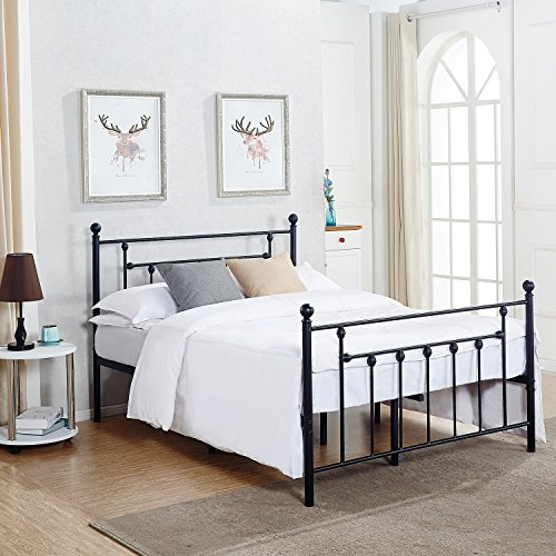 Size Bed Frame, Metal Platform Mattress Foundation/Box Spring Replacement with Headboard Victorian Style (Full Size Metal Bed Frames)