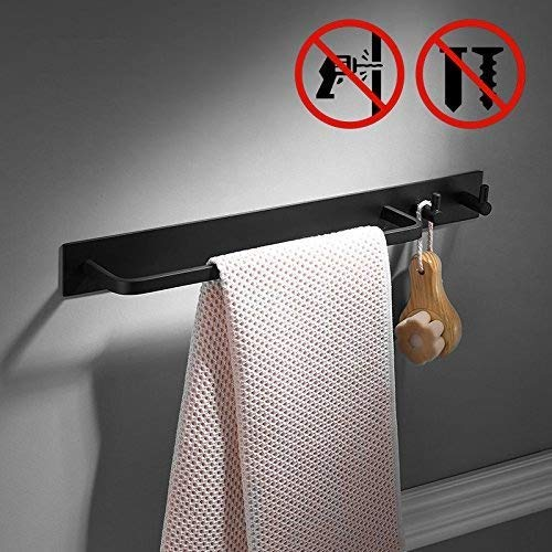 Adhesive Towel Rail with 2 Hook,40cm, Black Color, Patented Glue + 3M Self-Adhesive, Aluminum,Beelee by Beelee (Image #2)