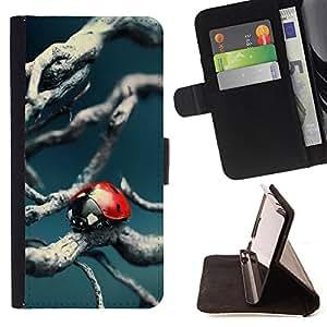 Skull Market - FOR HTC One M9 - Beetle's quiet time - Caja de la carpeta del tir¨®n del cuero de la PU [con ranuras para tarjetas y cierre de solapa magn¨¦tica] P¨¢rese cubierta de la caja