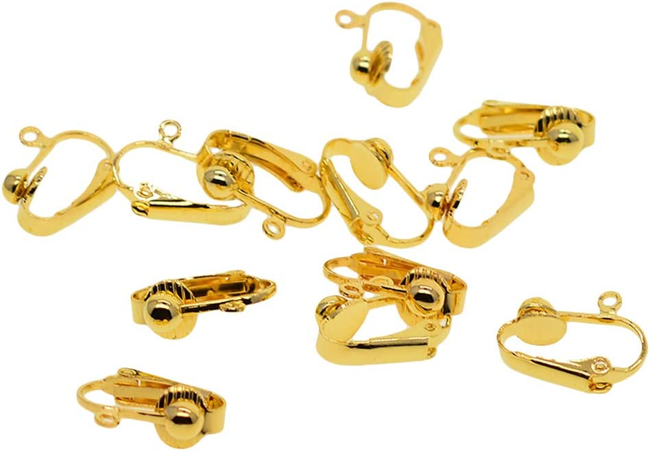 Daily Mall 6 Paar Messing Clip On Ohrringe Rohlinge Konverter Mit Schleife DIY 16 mm Gold