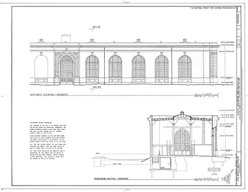 Historic Pictoric Blueprint Diagram HABS NY,60-POHI,1C- (Sheet 4 of 4) - Kykuit, Orangerie & Greenhouse, 200 Lake Road, Pocantico Hills, Westchester County, NY 14in x 11in
