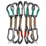 Fusion Climb 6-Pack 11cm Quickdraw Set with Techno Zoom Green Bent Gate Carabiner/Techno Zoom Orange Bent Gate Carabiner