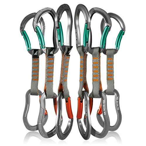 Fusion Climb 6-Pack 11cm Quickdraw Set with Techno Zoom Green Bent Gate Carabiner/Techno Zoom Orange Bent Gate Carabiner by Fusion Climb