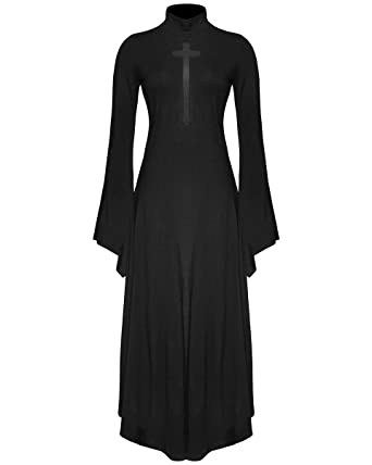 Punk Rave Gothic Cross Maxi Dress Black Witch Occult Long Sleeve