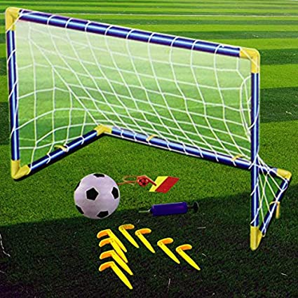 0eecbbb55 Kids Children Football Goal Post Net Ball With Pump Whistle Toy Indoor/Outdoor  Soccer (Single): Amazon.co.uk: Kitchen & Home