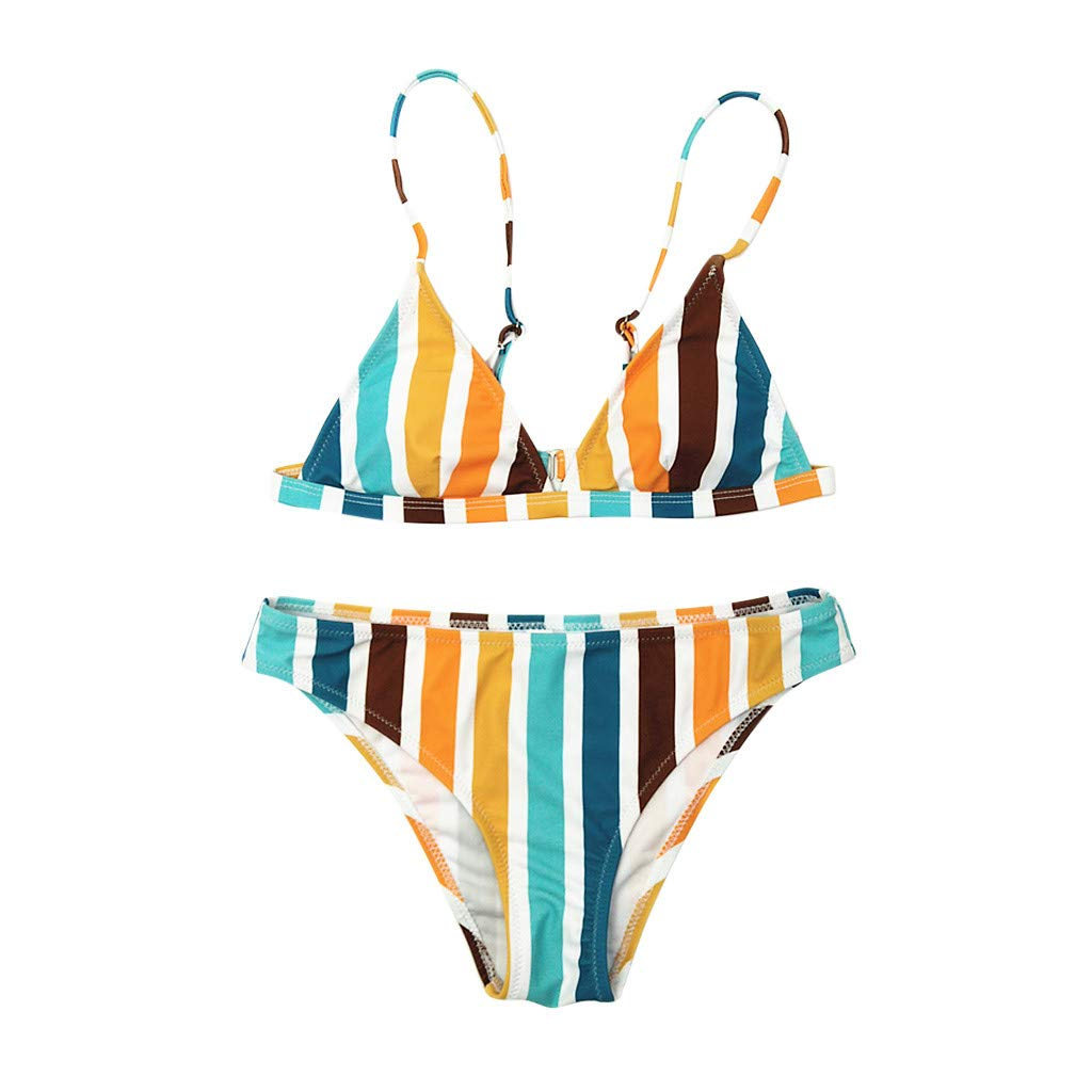 DIOMOR Women's Rainbow Striped Print Bikini HolidayTankini Party Beach Bandage Tropical Style Swimwear