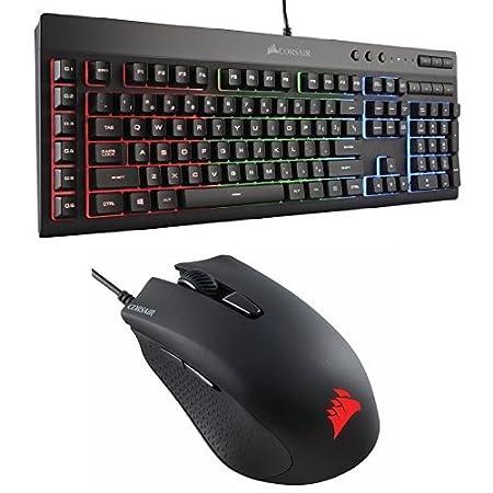 Corsair Gaming K55 RGB Keyboard, Backlit RGB LED with Corsair CH-9301011-NA Gaming Harpoon RGB Gaming Mouse, Backlit RGB LED, 6000 DPI, Optical
