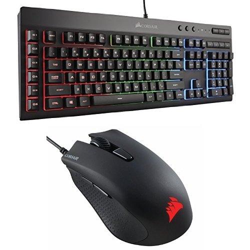 Corsair Gaming K55 RGB Keyboard, Backlit RGB LED with Corsair CH-9301011-NA Gaming Harpoon RGB Gaming Mouse, Backlit RGB LED, 6000 DPI, Optical 6000 Keyboard Mouse