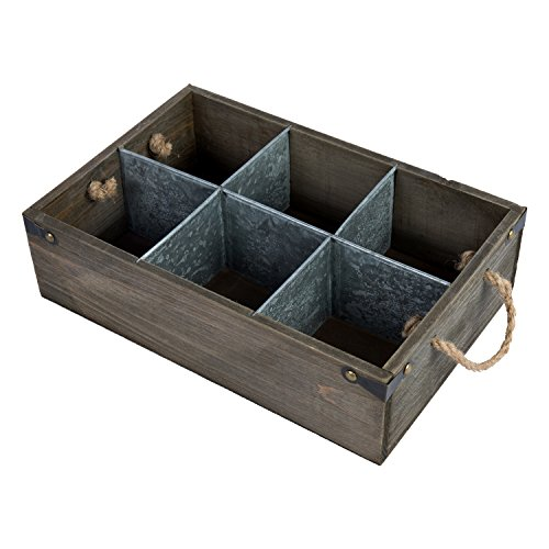 Wooden Boxes Crates - Distressed Barnwood Style Wine & Beer Bottle Crate with Rope Handles and Metal Divider Panels, Brown