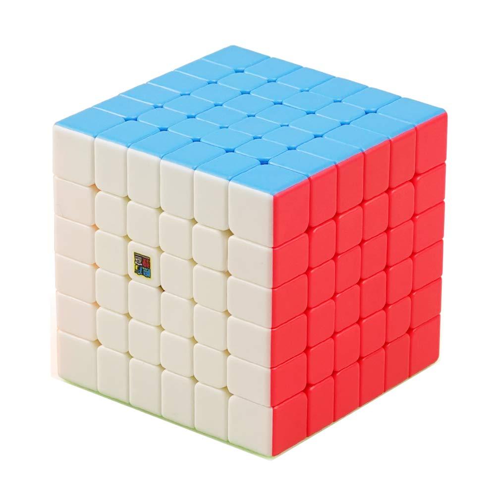 JIAAE Professionelle Wettbewerb Zauberwürfel Fluoreszierende Aufkleber Keine Verblassen Glatte Rubik Kinder Puzzle Spielzeug, 6X6