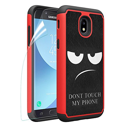 Samsung Galaxy J3 2018/J3 Achieve/J3V J3 V 3rd Gen/J3 Star/Amp Prime 3/Express Prime 3/Sol 3 Case, OEAGO [Shockproof] Hybrid Dual Layer Defender Case Cover [Dont Touch My Phone], Red
