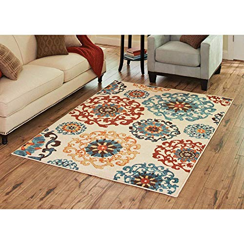 Better Homes and Gardens 283167 Orian Rugs Suzani Cream Area Rug, Size: 5' x 7', Multicolored from Better Homes & Gardens
