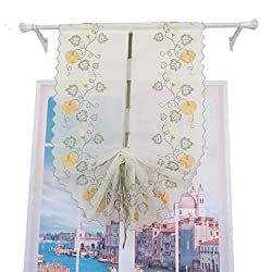 ZHH Pumpkin Vine Embroidered Sheer Tie-Up Roman Shade Room Window Curtain Beige,1 Panel