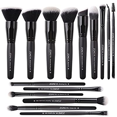 Zoreya Makeup Brush Set With Case Soft Foundation Powder Cosmetics Brush Travel Set