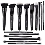 Zoreya Makeup Brushes Set 15Pcs Professional Synthetic Cruelty Free Bristles Foundation Powder Blush Cosmetic Brushes With Case For Present