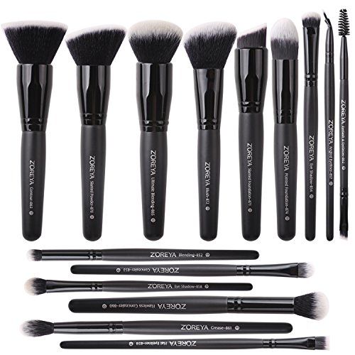 Zoreya Makeup Brushes Set 15Pcs Professional Synthetic Cruelty Free Bristles Foundation Powder Blush Cosmetic Brushes With Case For (Ultimate Powder Blush)