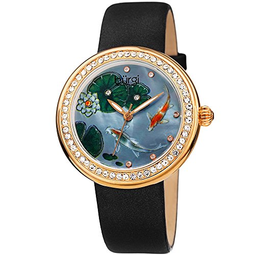 Burgi Crystal Studded Women's Watch - Hand Painted Koi Fish On Mother of Pearl Dial - Accented Bezel Markers - Black Satin Leather Strap - ()