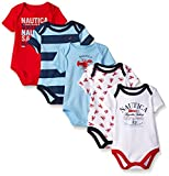 Nautica Baby Boys' Newborn Five-Pack Bodysuits, Red, 0-3 Months