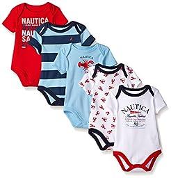 Nautica Baby Boys\' Newborn Five-Pack Bodysuits, Red, 0-3 Months